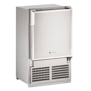"U-Line ULN-SS1095FC-20A - Marine Ice Maker With Bin, crescent-style, 15""W, stainless steel"