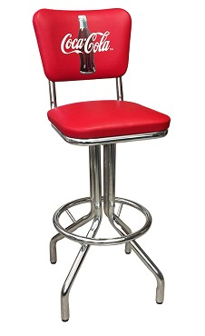 Vitro Seating 250-921 CBB - Coca-Cola Brand diner stool with back, chrome base