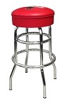 Vitro Seating 215-125R CBB - Coca-Cola Brand bull's eye stool with chrome base, red upholster