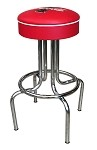 Vitro Seating 264-125 CBB - Coca-Cola Brand Bull's Eye Stool, red upholstered seat ring with