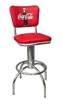 Vitro Seating 300-921 CBB - Coca-Cola Brand diner stool with back, chrome base
