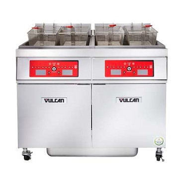 "Vulcan 4ER50DF - Fryer, electric, 62"" W, (4) battery, 50 lb. capacity per vat, solid state digital"