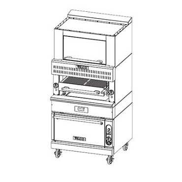 "Vulcan VBB1CF - V Series HeavyDuty Broiler, 36"" , Gas, (3) 34K BTU radiant burners, convection oven"